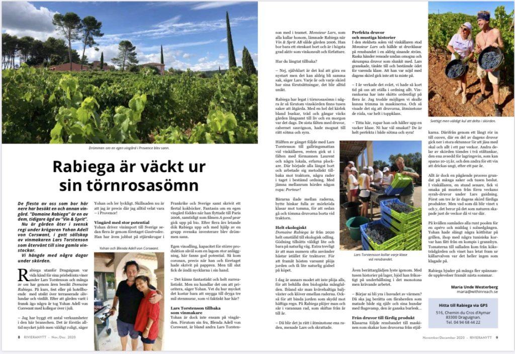 Klipp från artikeln om Rabiega i Rivieranytt